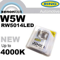 RW5014LED Ring 4000K LED Cool White Retrofit W5W 5W Wedge Sidelight Bulbs (x2)