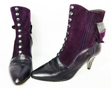 Cute 80s Victorian Style Spat Spectator Button Detail Bootie Ankle Boots