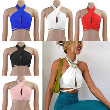 Women Sleeveless Low-Cut Backless Solid Sexy Tank  Casual Blouse Loose Vest Tops