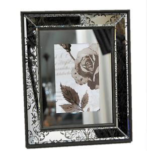 Photo Frame Mirrored 4x6 Photograph Grey Patterned Mirror Design Glass Ornate