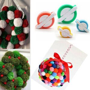 4 Size Pom-pom Maker kit Fluff Ball Weaver Needle Knit Craft bobble Tool DIY