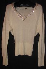FREE PEOPLE Ivory Off White Wool Blend Sweater Dolman V Neck Sequins Size S