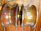 """LARGE PAIR OF VINTAGE CAST SOLID BRONZE ANCHOR ROLLERS, 6"""" DIAMETER 3"""" WIDE"""