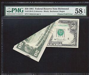 1981 $50.00 FRN *MASSIVE FOLDOVER & EXTRA OVERPRINT* P.M.G #58Q