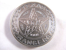 2 oz Silver Texas Rangers Lone Star Badge Antiqued Finish 39mm Thick Round Coin