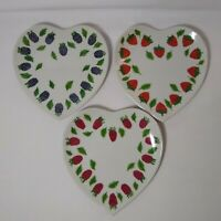 Williams Sonoma Heart Shaped Berry Collection Set of 3 Dessert Plates 7' Inch