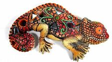 Chameleon Mosaic Wall Art Red with Mirrors Wildlife decor