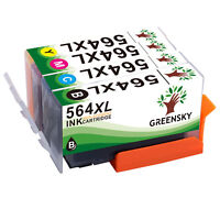 4PK High Yield Ink Cartridge BCMY New Chip For HP 564XL 564 Photosmart 7515 7525