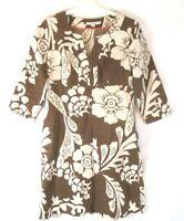 Boden Linen V Neck Dress Brown Floral Sz 8L Long Pull On 3/4 Sleeve Womens CBZ4