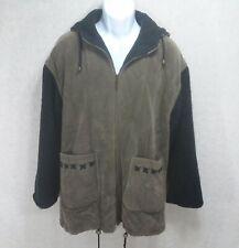 Izzi Outerwear Mens Hooded Zipper Front Coat Size Medium Black & Brown