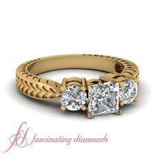 1 Carat Princess Cut Untreated Diamond Vintage Style Three Stone Engagement Ring