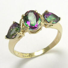 3.0 cwt. Mystic Green Topaz Ring 14k Y/ Gold Rind, Ring Sizes 4 to 9.5 #R478