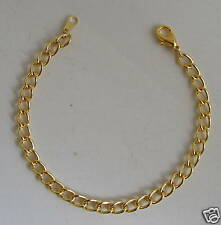 """Charm bracelet blank 7 1/2"""" Gold plated X 1 piece with lobster clasp."""