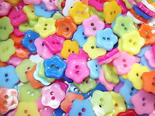 50 x mixed colour flower 2 HOLE RESIN 12mm  Buttons, Scrapbooking, Craft ETC.,
