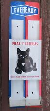 VTG 1970's MEXICO EVEREADY BLACK CAT BATTERY TIN SIGN ADVERTISING STORE DISPLAY
