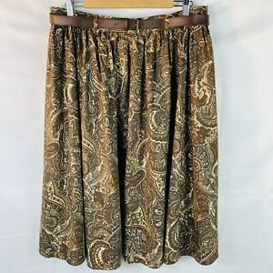 Vintage St Michael M&S brown paisley skirt with belt size 20 70s 80s excellent