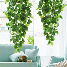 2 Pack Artificial Hanging Plants Fake Flowers Leaves Long Green Ivy Vine Garland