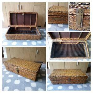VINTAGE - Wicker & Wooden Storage Trunk Case Basket Display Slats Rack Unusual