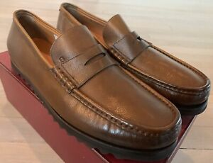 $600 Bally Brown Noley Leather Loafers Size US 6.5 Made in Switzerland