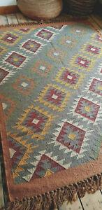 Wool with Jute Kilim Rust, Grey Ochre 150x215cm Quality Hand Made Reversible rug