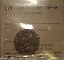 Canada George V 1931 Five cents - ICCS MS-60