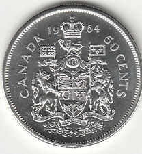 .800 Silver 1964 Elizabeth II Fifty Cent Piece MS 62