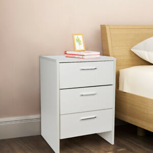 Bedside Table Nightstand Cabinet Home Bedroom with 3 Drawers Storage White