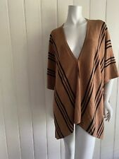 COUNTRY ROAD shawl size s 10 camel black stipe wool blend