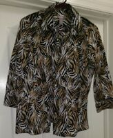 Chico's Womens Brown Black White Zebra Button Down Shirt Top Blouse Size 1 M