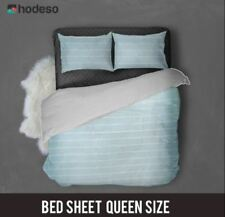 Hodeso Bedsheet Stripes Queen Size With Two FREE Pillow Case (Light blue)