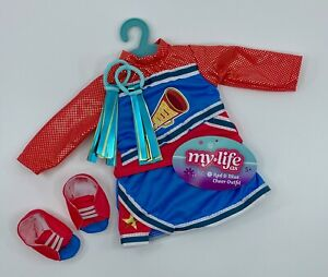 """My Life As Red & Blue Cheer Cheerleader Outfit Fashion Set for 18"""" Dolls NEW"""
