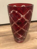 Collectible Vintage Ruby Red / Cranberry Cut to Clear Vase