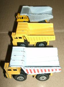 Three Large Dump Truck Diecast Earth Movers 1/140 Matchbox 1/100 Majorette Benne