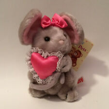"Vintage Russ Berrie Luv Pets ""Missy"" Mouse Plush Pink Heart & Bow #264 New Tags"
