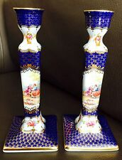 """Superb Pair of Generously Gold Gilded 8""""/20cm Past Times Bone China Candlesticks"""