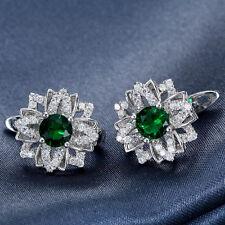 925 Silver Emerald Stud Hoop Earrings Fashion Women Jewelry Engagement Wedding
