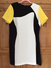 Definitions size 18 black white yellow shift  DRESS smart summer short sleeves