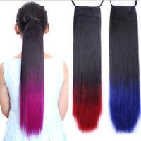 Long Queue de Cheval Postiche Extension de Cheveux Lisse Ponytail Clip in Hair