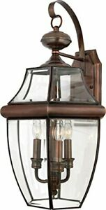 Quoizel NY8318AC 3-Light Newbury Outdoor Lantern in Aged Copper