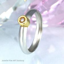 Anello in 950/- PLATINO + 750/- Giallo con 1 diamanti 0,02 ct. Wesselton/si