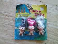Vintage HONG KONG set of 3 small LUCKY troll DOLLs in package miniature