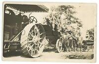 RPPC Antique Steam Engine Tractor Threshing Machine Rural Real Photo Postcard
