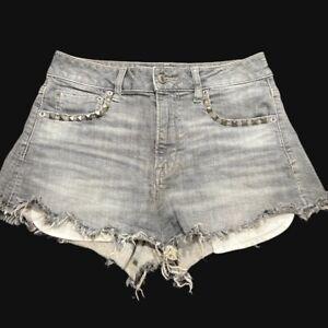 American Eagle Shorts-HiRise Festival-Women sz 4-Cotton bl-Gray/Studs