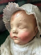 A rare antique Kathe Kruse Traumerchen sleeping baby painted cloth doll,