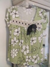 Cha Cha Vente top PS vintage look Lime Green and White lace ribbon NEW MSRP $40