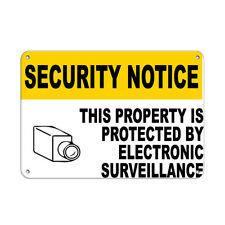 Horizontal Metal Sign Multiple Sizes Protected Property Electronic Surveillance