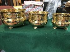 New Set of 3 Vintage Solid Brass Footed Planters Made in India In Box