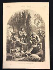 Libro Antiguo 1873 impresión/placa capitán Kidd ocultar Tesoro en una caverna 1699