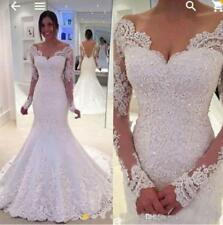 Sexy V Neck Lace Applique Wedding Dress Off Shoulder Mermaid Bridal Gown Custom