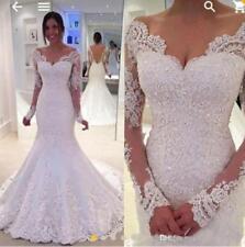 Sexy V Neck Lace Applique Wedding Dress Off Shoulder Mermaid Bridal Gown Custom